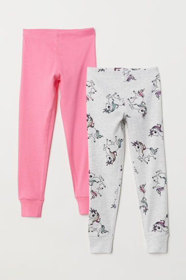 2-pack longjohns - Pink/Unicorns - Kids | H&M CN