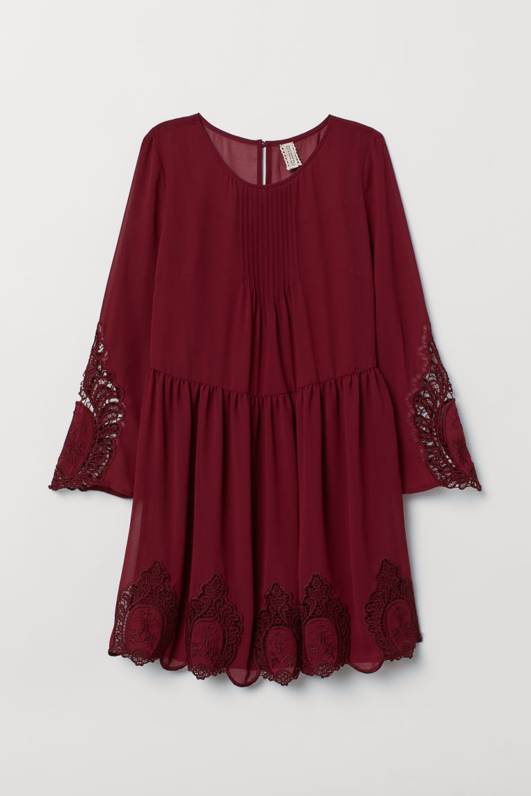 Dress with lace - Dark red -  | H&M IN