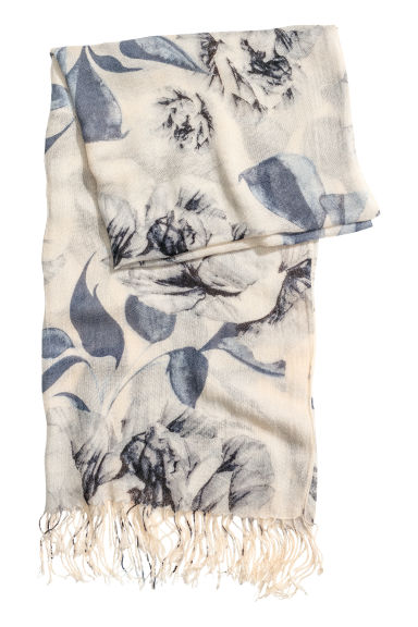 Woven scarf - Light blue/Floral - Ladies | H&M CN