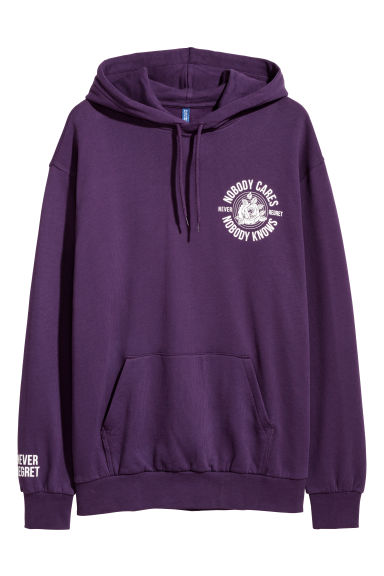 Hooded top - Dark purple/Nobody Cares - Men | H&M