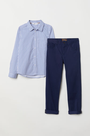 Shirt and twill trousers - Dark blue/Striped - Kids | H&M CN