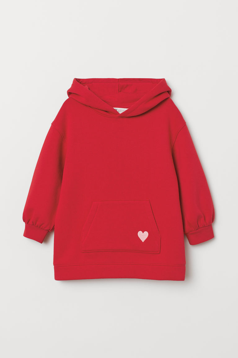 Hooded top - Red/Heart - Kids | H&M CN