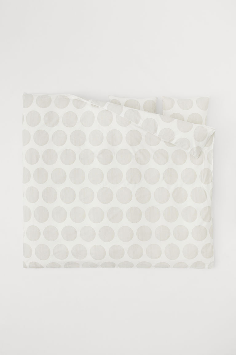 Set funda de duvet de algodón - Blanco/Gris pardo claro - Home All | H&M US