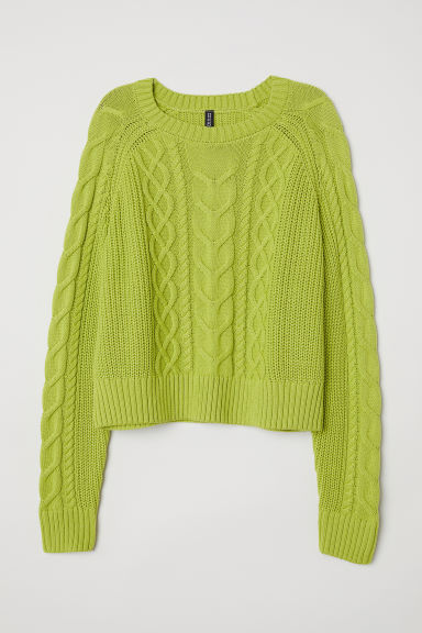 Cable-knit jumper - Lime green - Ladies | H&M