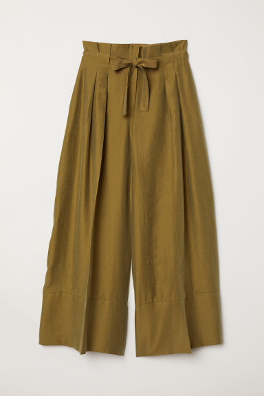Wide lyocell-blend trousers - Green - Ladies | H&M CN