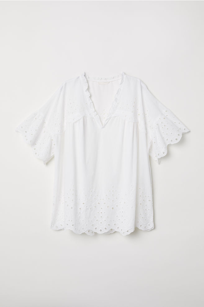 71532d6f0 Blouse with Eyelet Embroidery - White - Ladies | H&M ...