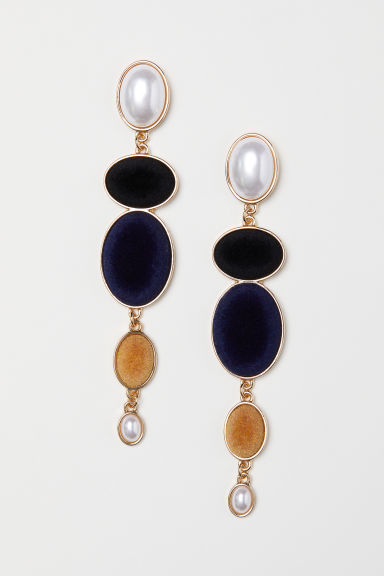 Long earrings - Dark blue/Multicoloured - Ladies | H&M