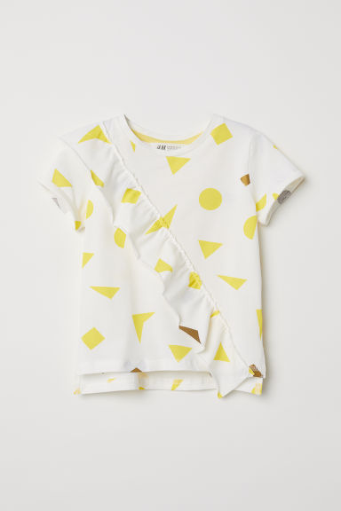 Camiseta con estampado - Blanco natural/Volante -  | H&M ES