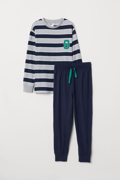 Jersey pyjamas - Dark blue/Striped - Kids | H&M CN