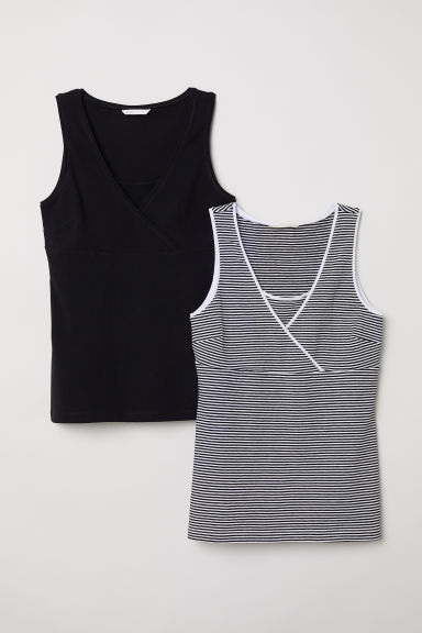MAMA 2-pack nursing tops - Black/Striped - Ladies | H&M CN