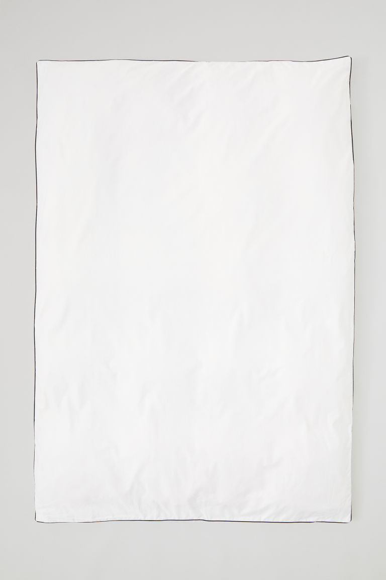 Cotton satin duvet cover - White - Home All | H&M CN