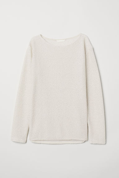 Boat-necked jersey top - Natural white - Ladies | H&M GB
