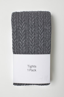 Textured-knit tights