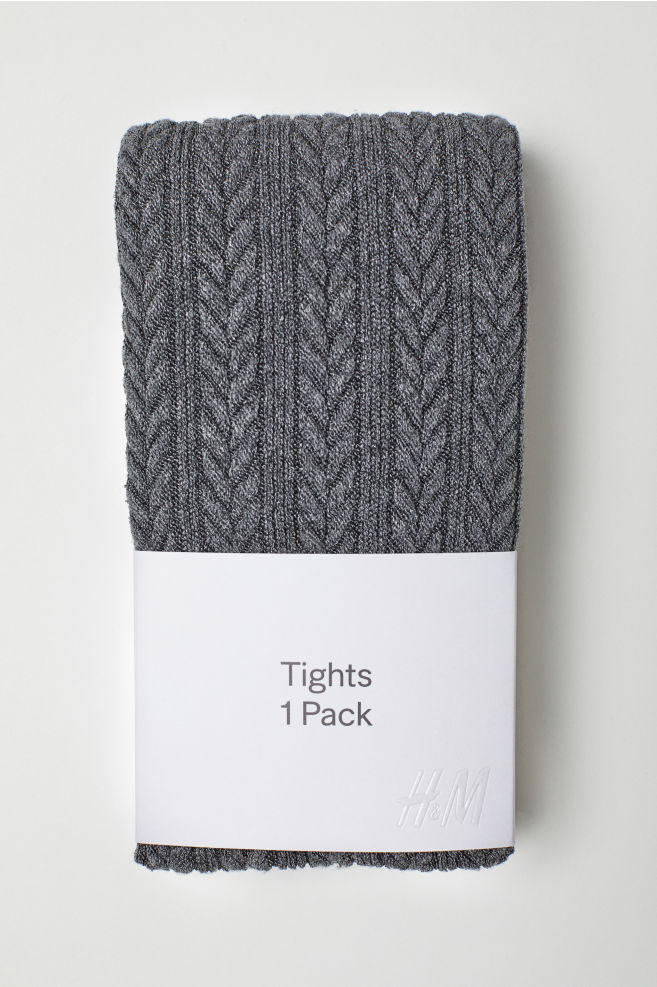 Textured-knit Tights - Dark gray - Ladies | H&M US 1