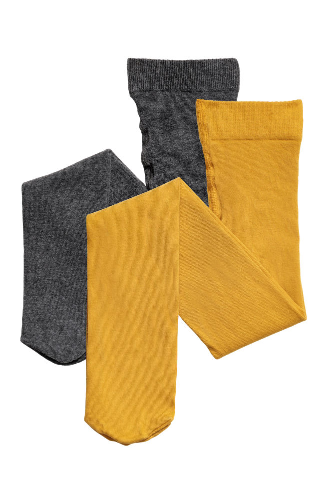 ca58d257a60 2-pack tights - Mustard yellow - Kids