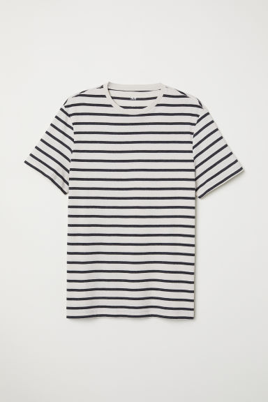 T-shirt Regular fit - Light beige/Striped - Men | H&M