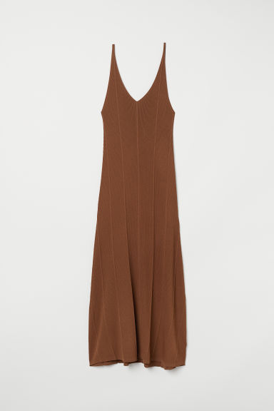 Ribbed dress - Dark camel - Ladies | H&M CN