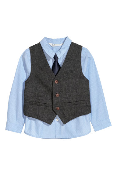 Shirt and waistcoat - Light blue/Dark grey - Kids | H&M