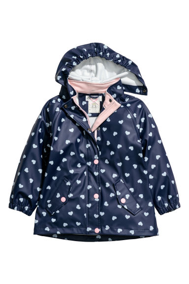 Hooded rain jacket - Dark blue/Hearts -  | H&M