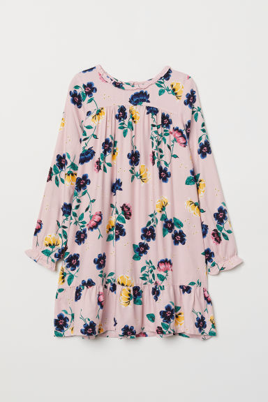 Patterned dress - Powder pink/Floral - Kids | H&M CN