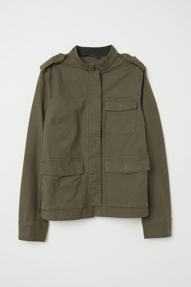 Cotton cargo jacket - Khaki green - Ladies | H&M