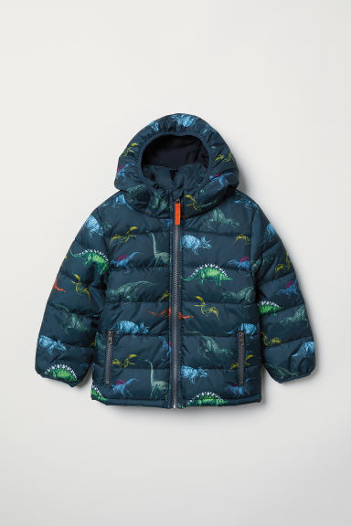 Padded Hooded Jacket - Dark blue/dinosaurs - Kids | H&M US