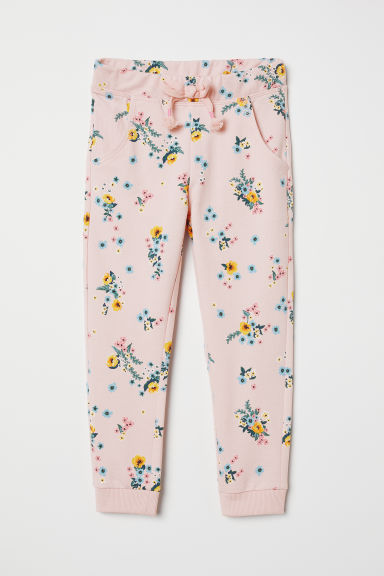 Joggers - Light pink/Flowers - Kids | H&M