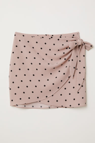 Short wrapover skirt - Dusky pink/Spotted - Ladies | H&M