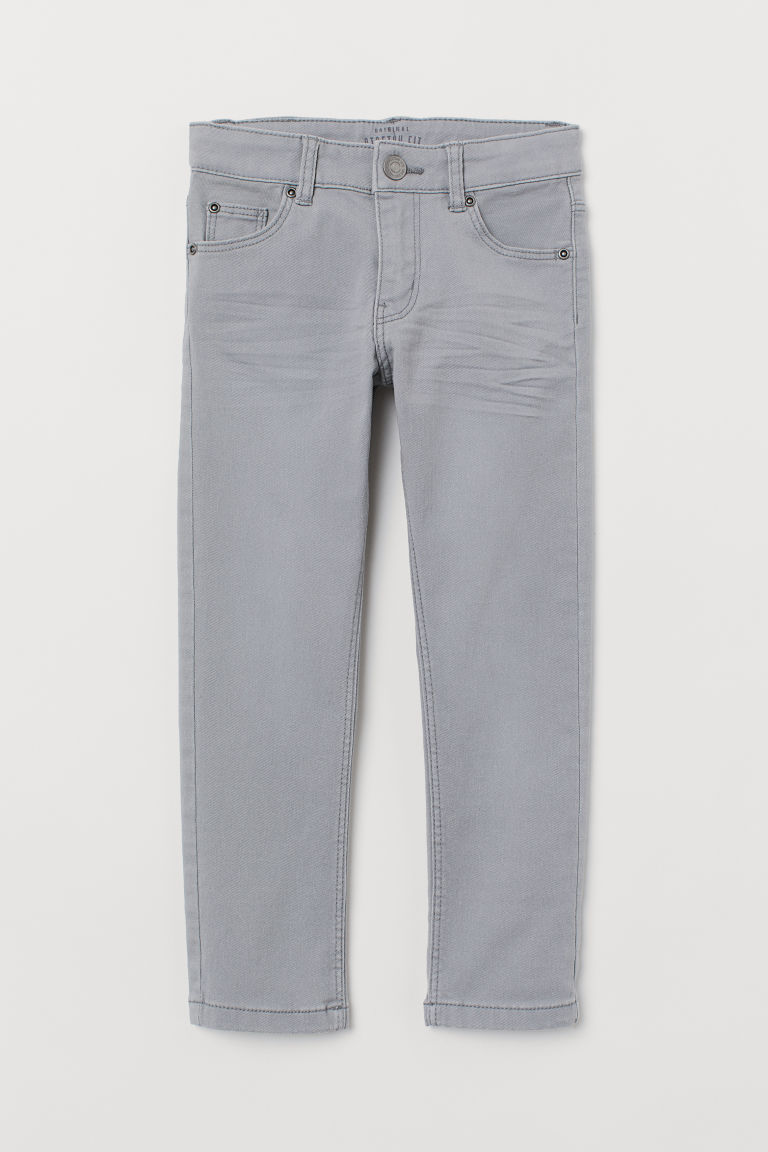 Slim-fit Twill Pants - Light gray - Kids | H&M US