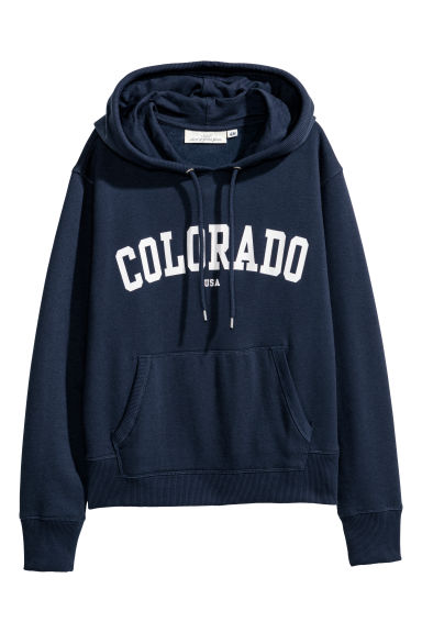 Printed hooded top - Dark blue/Colorado - Ladies | H&M