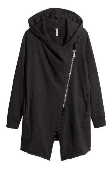 40c5802043 Hooded sweatshirt cardigan - Black - Ladies