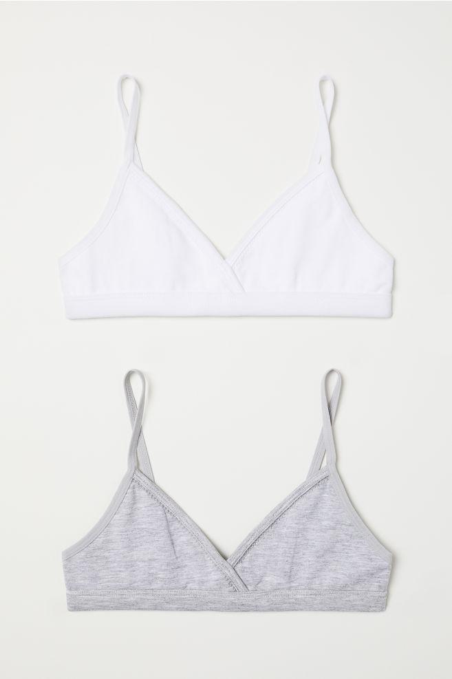 5083d47a8b 2-pack Tops - White gray melange - Kids