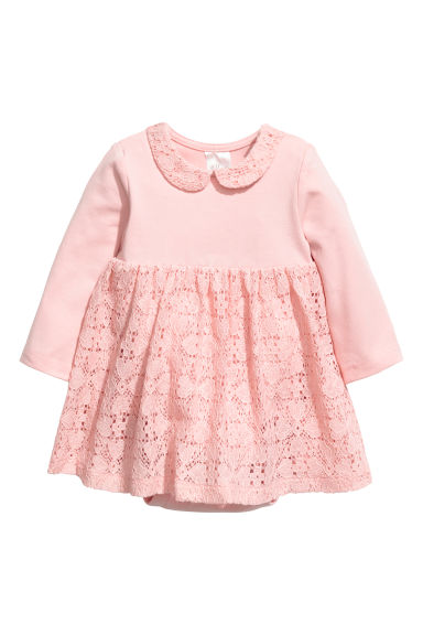 Dress with a lace skirt - Light pink - Kids | H&M CN