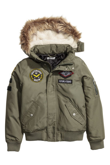 Bomber jacket with patches - Khaki green - Kids | H&M