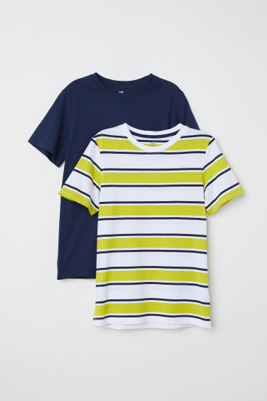 2-pack T-shirts - Yellow/Striped - Kids | H&M