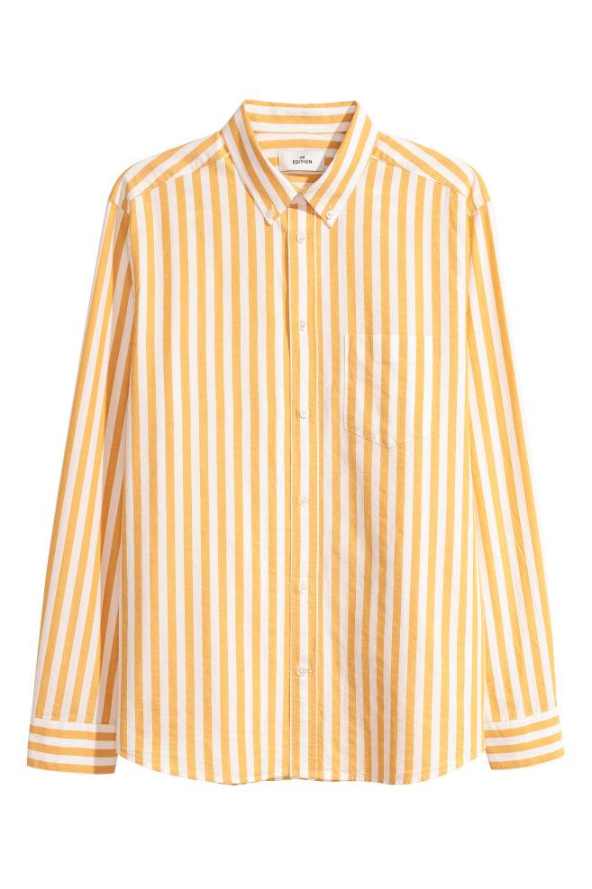 8d09d492d664 Oxford Cotton Shirt - Yellow white striped -