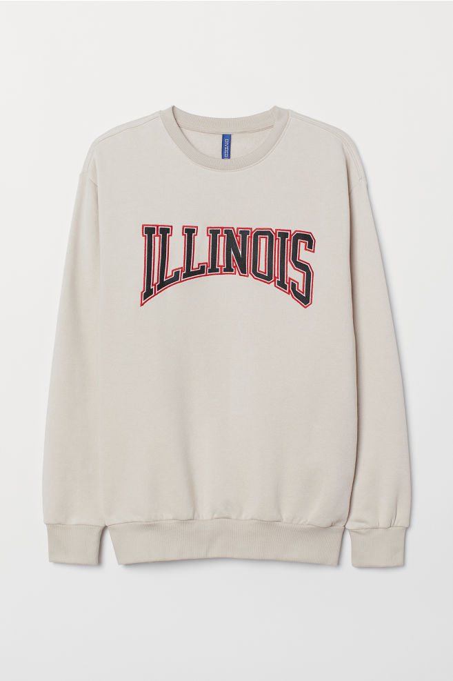 Sweatshirt With Motif Light Beigeillinois Men Hm Us