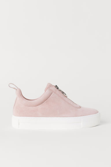 Pile-lined suede trainers - Light pink - Ladies | H&M CN