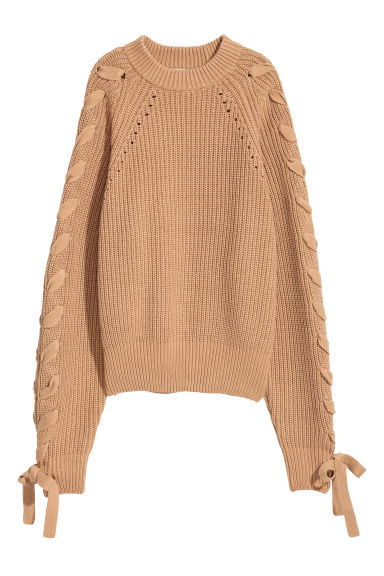 Knitted jumper with lacing - Dark beige - Ladies | H&M GB