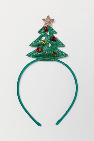 Alice band with an appliqué - Green/Christmas tree - Kids | H&M