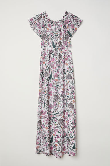 Long off-the-shoulder dress - White/Floral -  | H&M