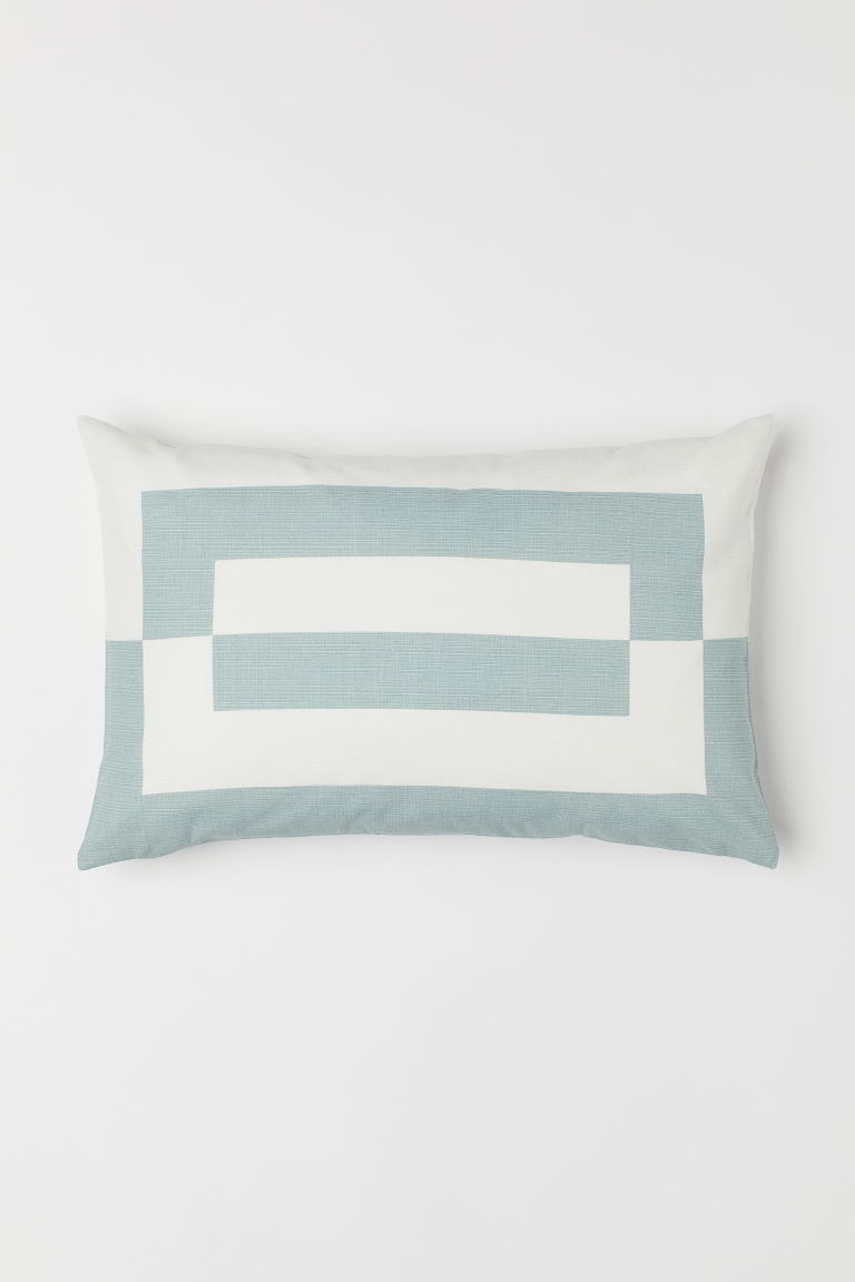 Cotton cushion cover - Turquoise/White - Home All | H&M GB
