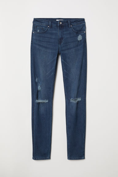 Skinny Regular Jeans - Dark blue/Trashed - Ladies | H&M