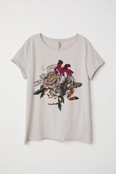 T-shirt with embroidery - Light grey -  | H&M CN