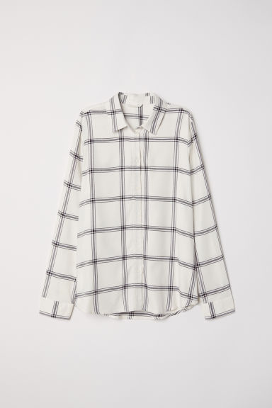 Crêpe blouse - Natural white/Checked - Ladies | H&M