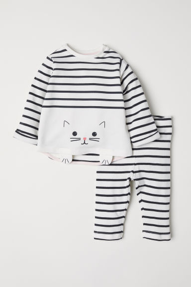 Cotton top and leggings - Natural white/Striped - Kids | H&M