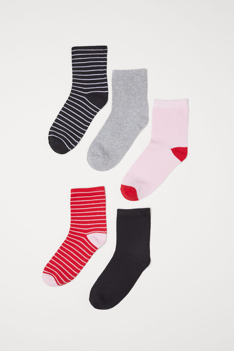 5-pack socks - Red/Striped - Ladies | H&M CN