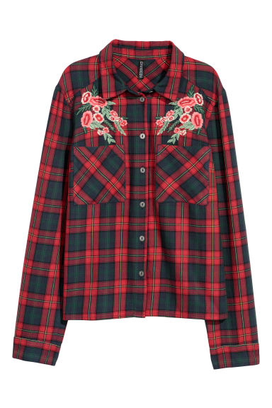 Cotton shirt with embroidery - Red/Checked -  | H&M IE