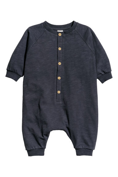 Slub jersey all-in-one suit - Dark blue -  | H&M CN