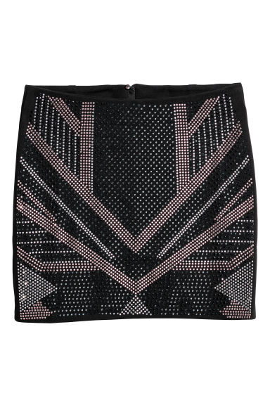 Skirt with studs - Black -  | H&M CN